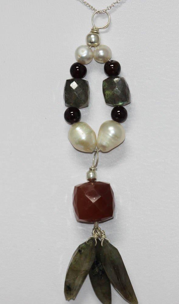 52.80 ctw Pearl/Semiprecious Pendant .925 Sterling Silv