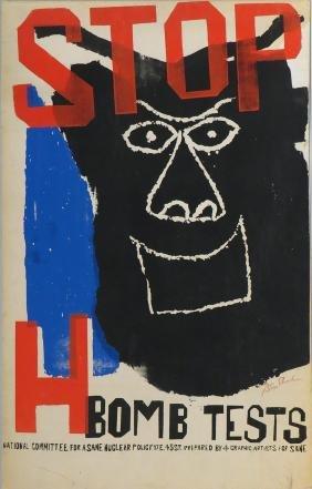 BEN SHAHN ANTI-NUCLEAR POSTER, 1961
