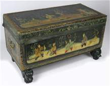 CHINESE EXPORT GREEN LEATHER CAMPHORWOOD TRUNK