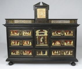 18TH C. ITALIAN INLAID EBONIZED TABLE-TOP CABINET