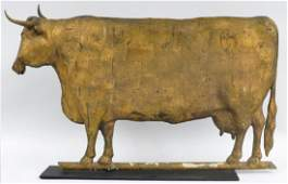 19TH C. FULL BODIED GILDED COW WEATHERVANE