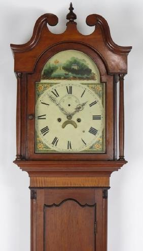 19TH C. CHERRY AND TIGER MAPLE TALL CLOCK
