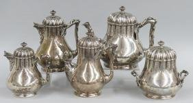 EARLY TIFFANY 5-PIECE STERLING SILVER TEA SERVICE