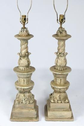 PAIR OF ITALIAN TERRA COTTA COLUMNS/LAMPS
