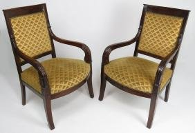 PAIR OF FRENCH CLASSICAL MAHOGANY ARMCHAIRS