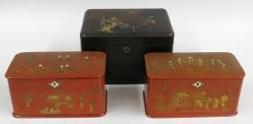 (on 3) PAIR CHINESE EXPORT RED CHINOISERIE TEA CADDIES