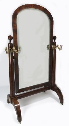 AMERICAN CLASSICAL MAHOGANY CHEVAL MIRROR