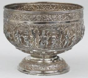 ANGLO-INDIAN SILVER CENTER BOWL