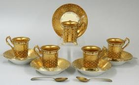SET OF (5) PORCELAIN DEMITASSE CUPS AND SAUCERS