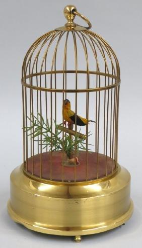 SINGING AUTOMATON BIRD IN CAGE, GRIESBAUM