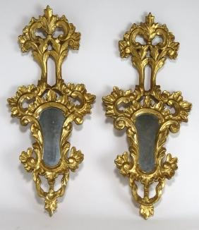 PAIR OF VENETIAN-STYLE GILDED WALL MIRRORS