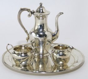 3-PIECE STERLING SILVER DEMITASSE SET, ON TRAY