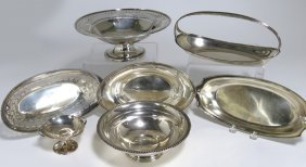 (on 7) STERLING SILVER BOWLS AND BREAD TRAYS