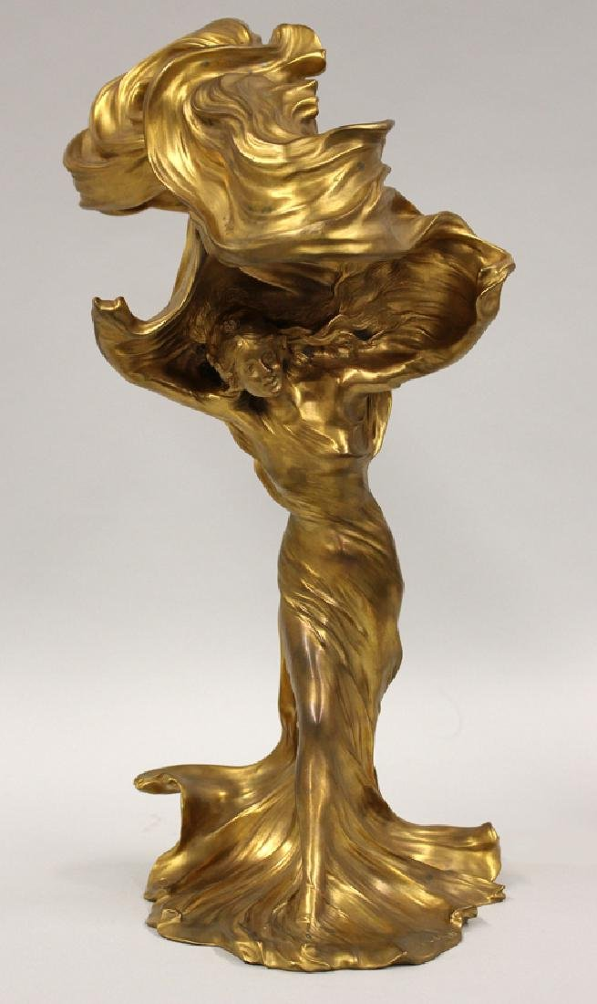 LARCHE ART NOUVEAU LIGHTED SCULPTURE, LOIE FULLER