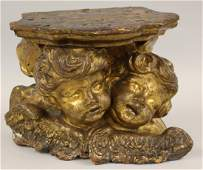 ITALIAN CARVED AND GILDED FIGURAL WALL SCONCE