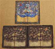 3 CHINESE EMBROIDERED CIVIL RANK BADGES