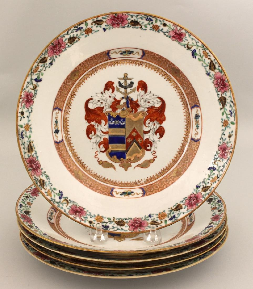 SET OF (5) 18TH C. CHINESE EXPORT ARMORIAL PLATES