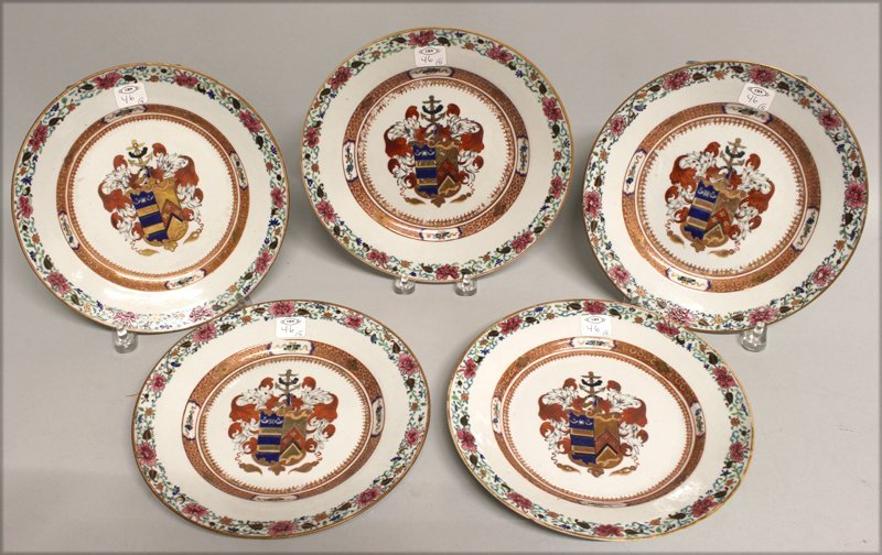 SET OF (5) 18TH C. CHINESE EXPORT ARMORIAL PLATES - 3