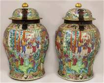 EXCEPTIONAL PAIR OF CHINESE EXPORT MANDARIN TEMPLE