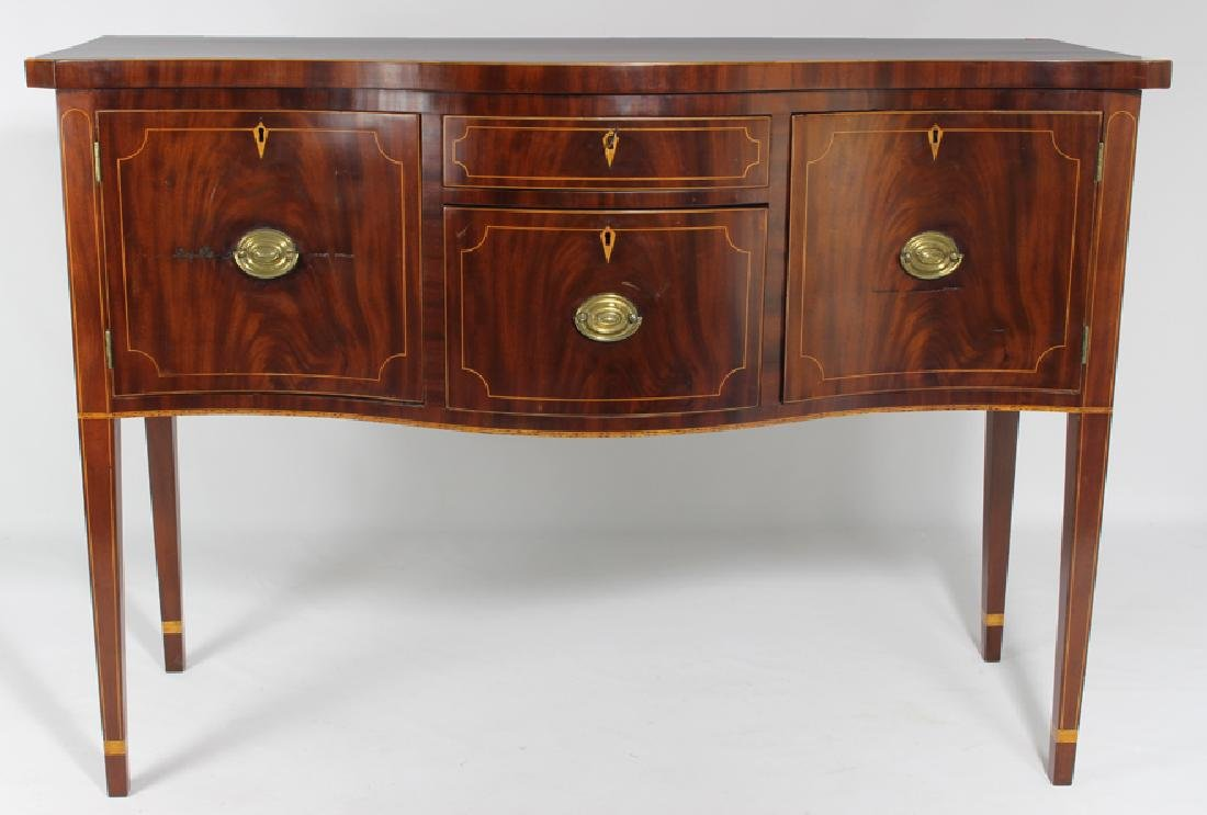 NEW YORK HEPPLEWHITE MAHOGANY SERPENTINE SIDEBOARD