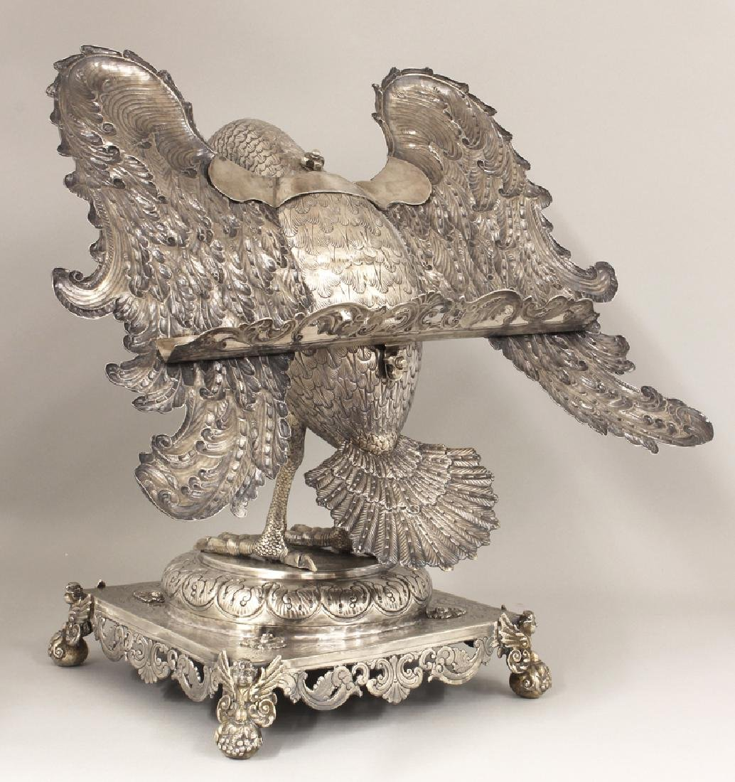 RARE SPANISH COLONIAL SILVER PELICAN-FORM BOOKSTAND - 2