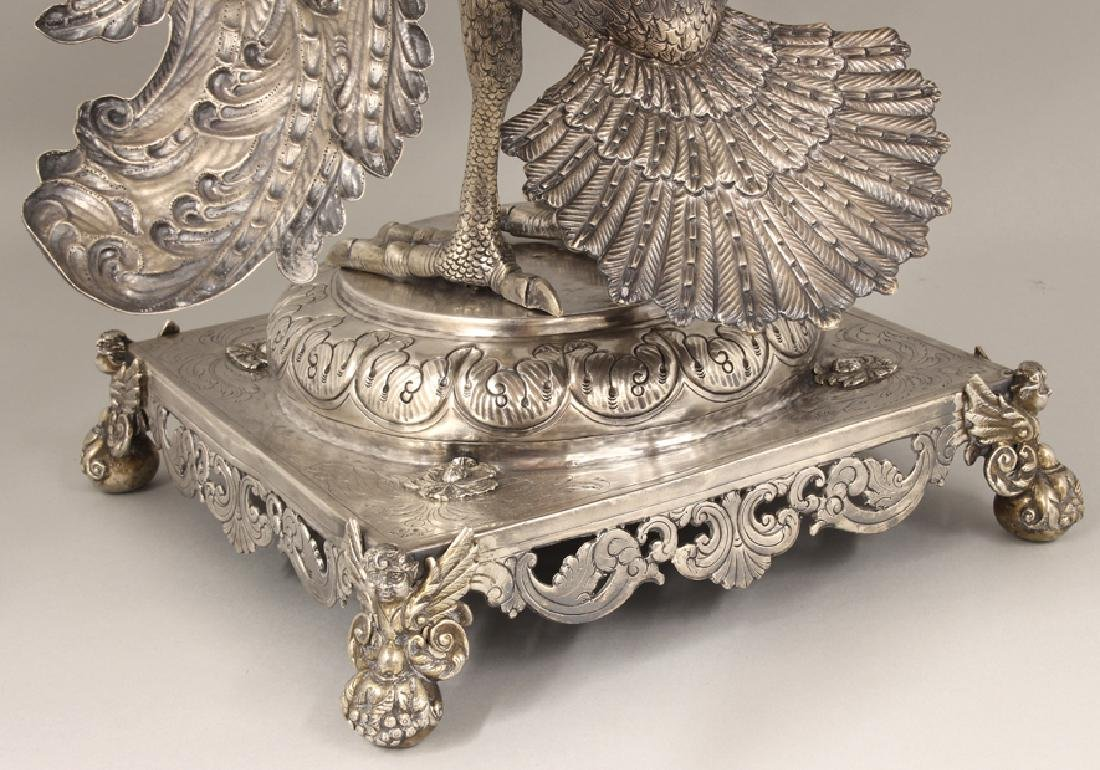 RARE SPANISH COLONIAL SILVER PELICAN-FORM BOOKSTAND - 6
