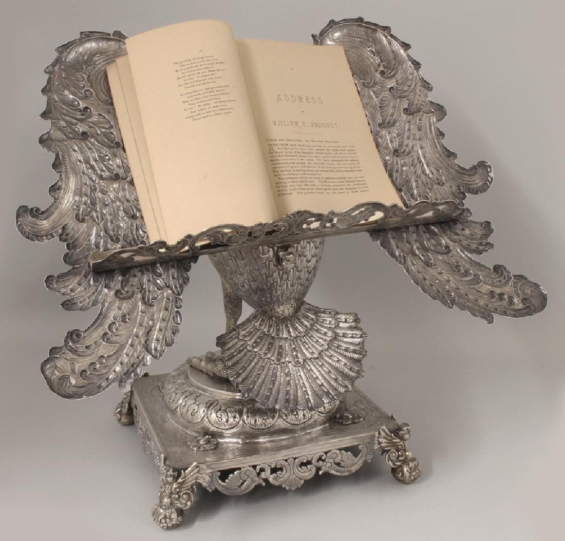 RARE SPANISH COLONIAL SILVER PELICAN-FORM BOOKSTAND - 8