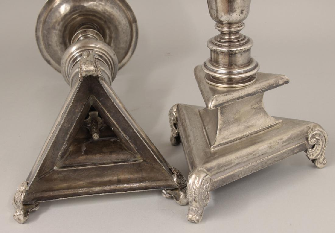 PAIR OF SPANISH COLONIAL SILVER ALTAR CANDLESTICKS - 2