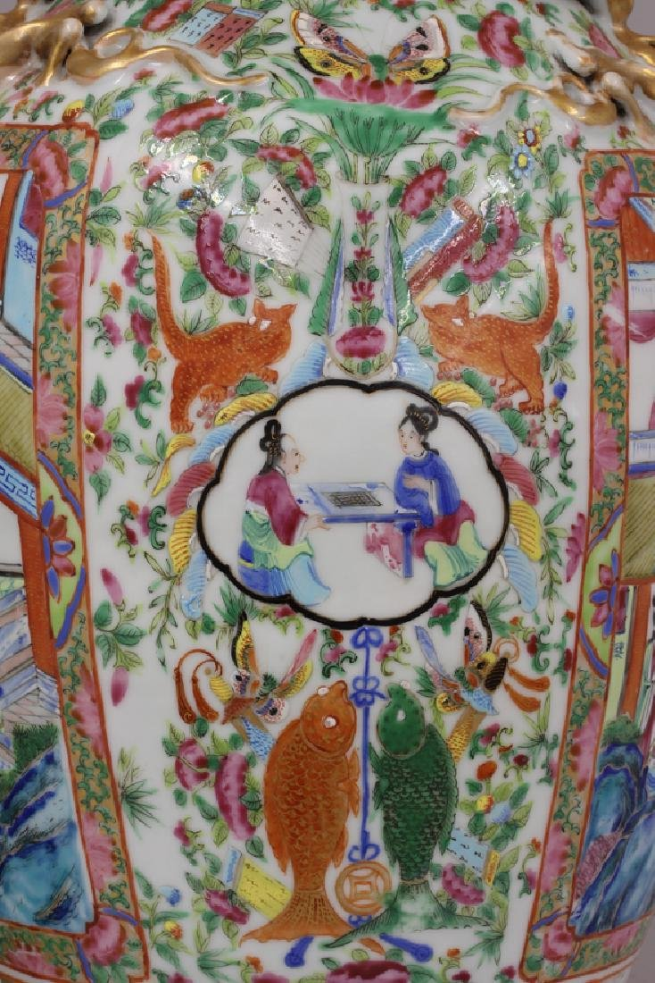 PAIR OF CHINESE EXPORT ROSE MANDARIN VASES - 2