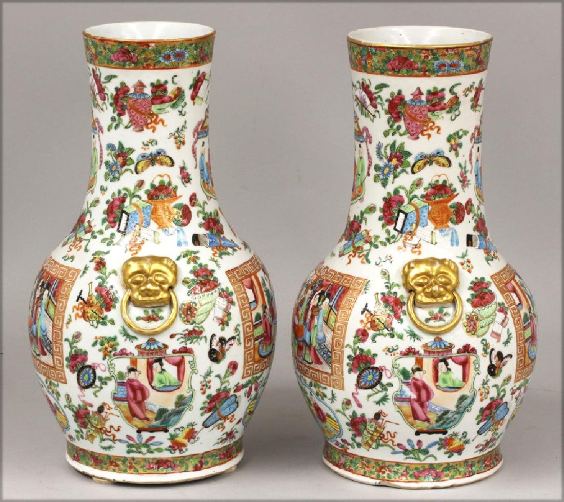 PAIR OF CHINESE EXPORT ROSE MANDARIN VASES - 2