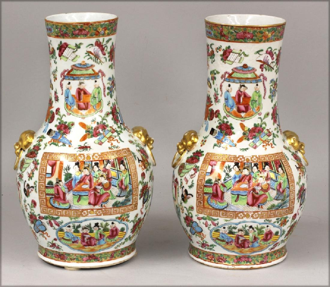 PAIR OF CHINESE EXPORT ROSE MANDARIN VASES - 3