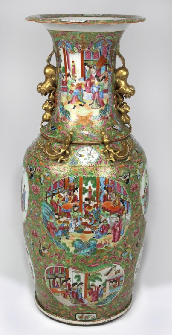 MASSIVE CHINESE EXPORT ROSE MANDARIN VASE