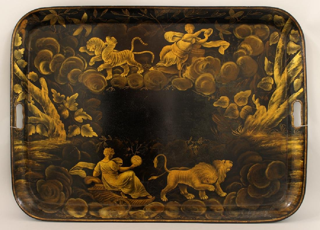 ENGLISH GEORGE III ALLEGORICAL TOLE TRAY