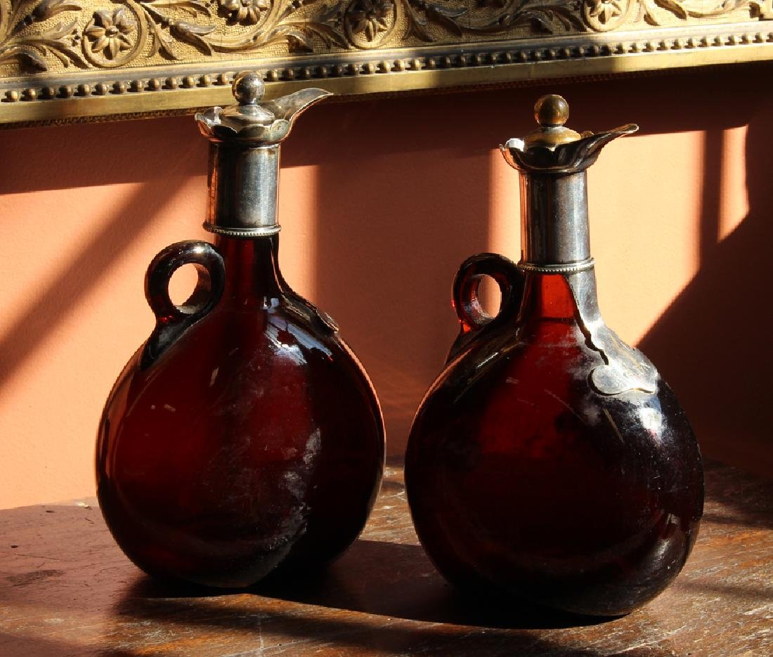 PAIR OF AMBER GLASS AND SILVERED LIQUOR BOTTLES - 2