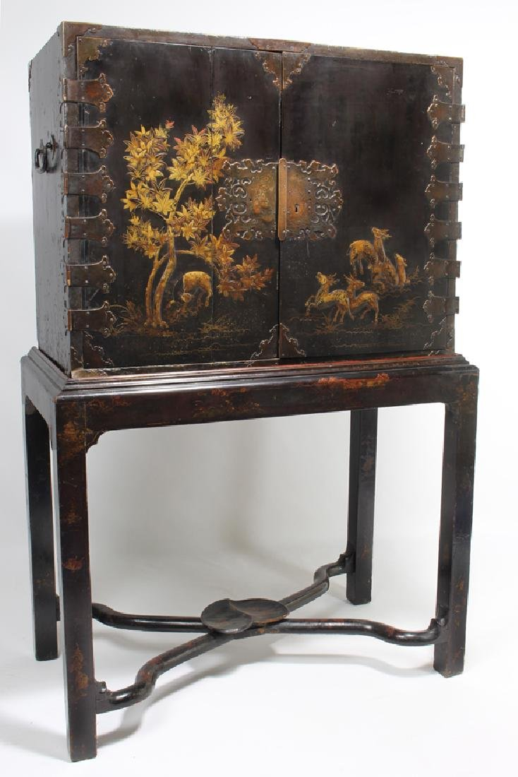 ANGLO-JAPANESE LACQUERED CABINET ON STAND