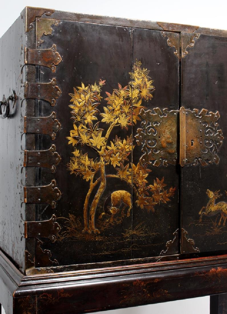 ANGLO-JAPANESE LACQUERED CABINET ON STAND - 6