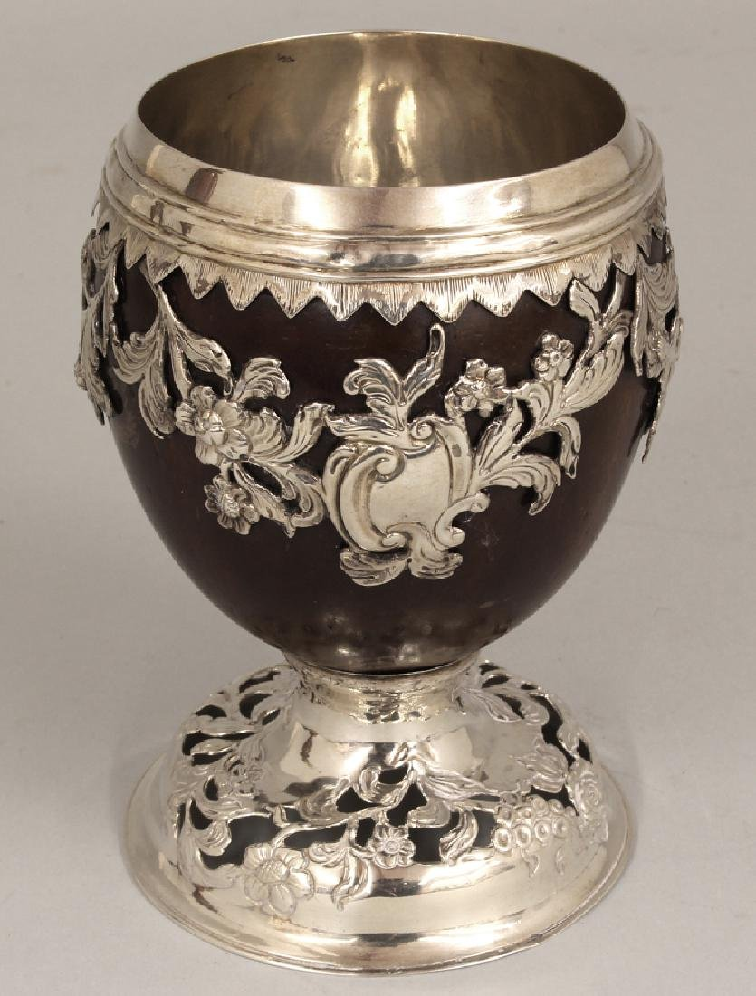 GEORGIAN SILVER MOUNTED COCONUT GOBLET