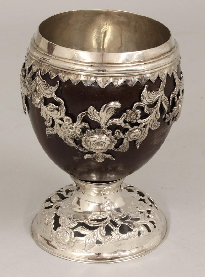 GEORGIAN SILVER MOUNTED COCONUT GOBLET - 2