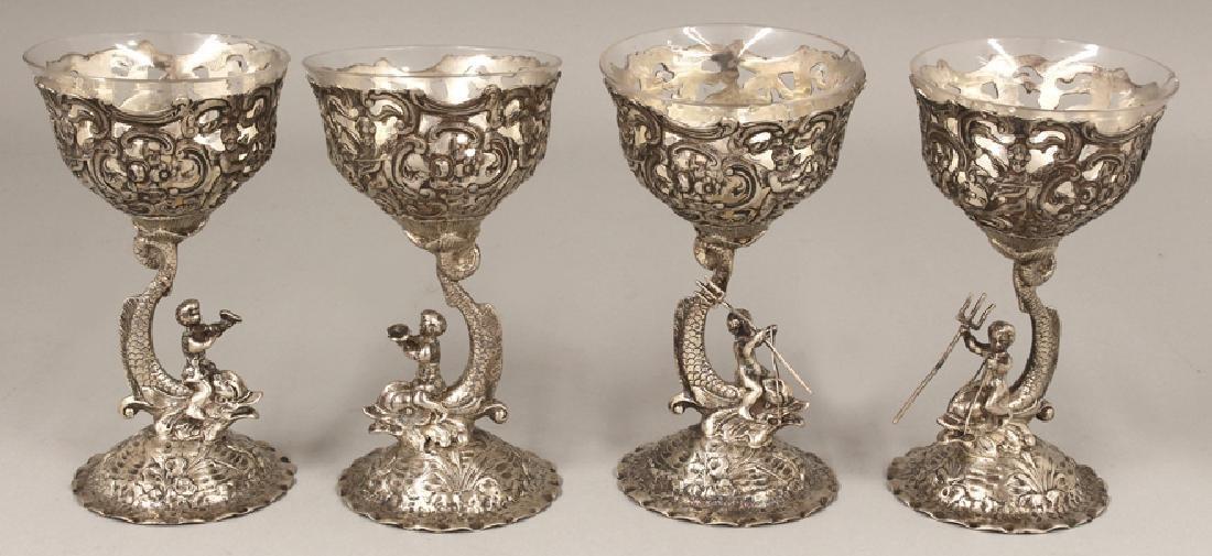 SET OF (4) GERMAN SILVER STEMMED SORBET GLASSES