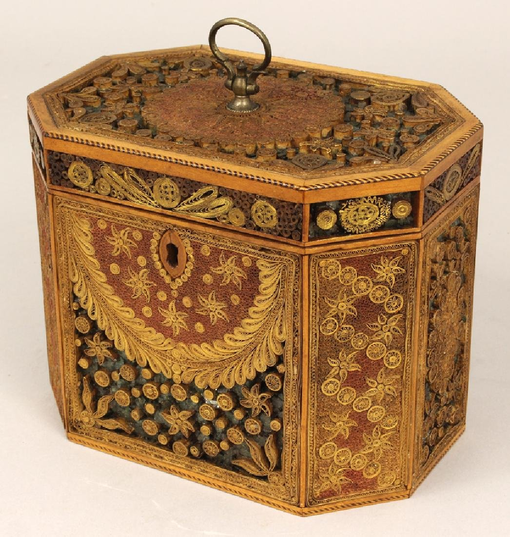 GEORGIAN MULTICOLOR ROLLED-PAPER TEA CADDY