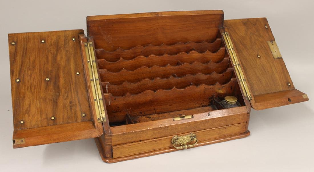 ENGLISH FIGURED WALNUT WRITING BOX - 2