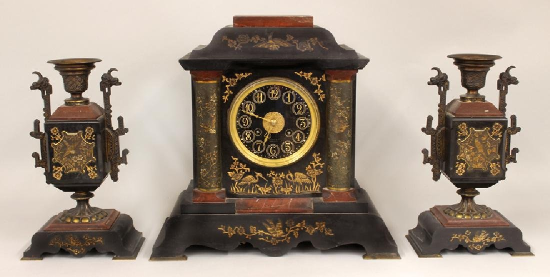 TIFFANY AESTHETIC MOVEMENT MARBLE CLOCK SET