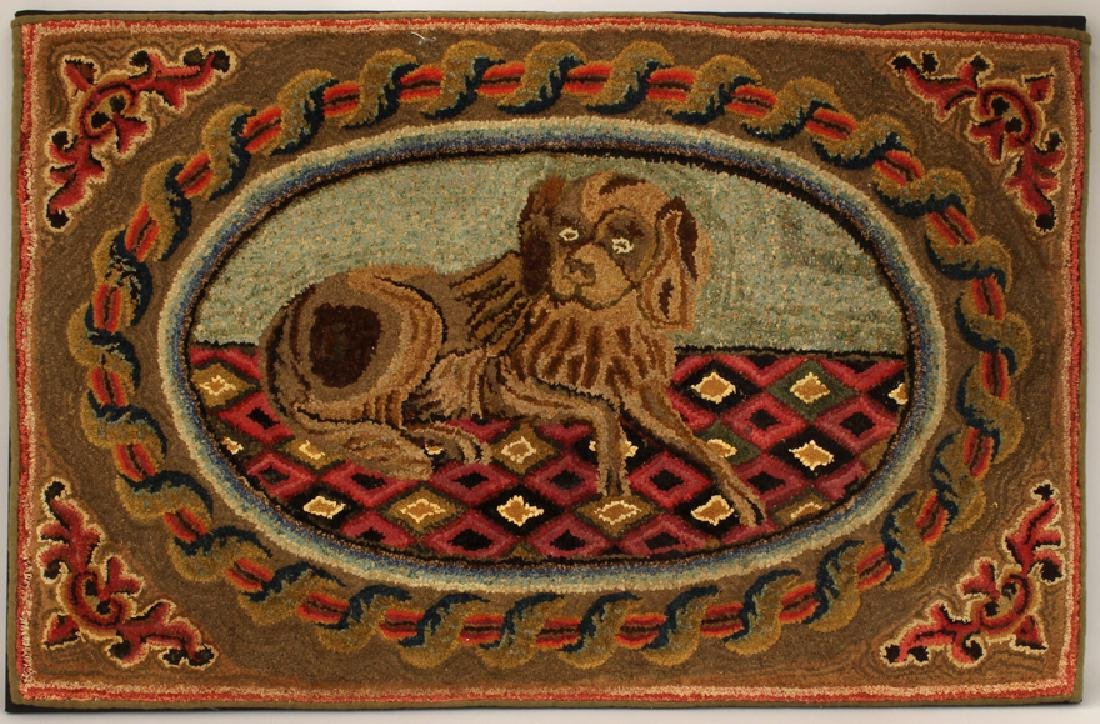 19TH C. HOOKED RUG OF DOG