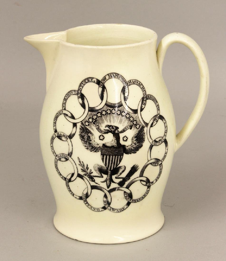 SMALL 19THC. CREAMWARE LIVERPOOL PITCHER