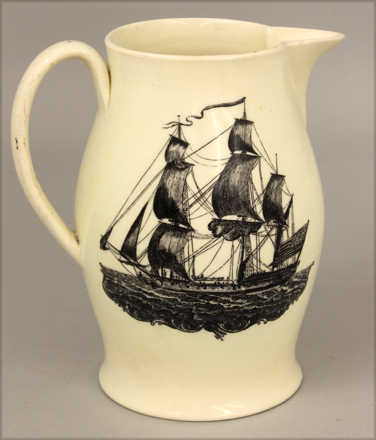 SMALL 19THC. CREAMWARE LIVERPOOL PITCHER - 2