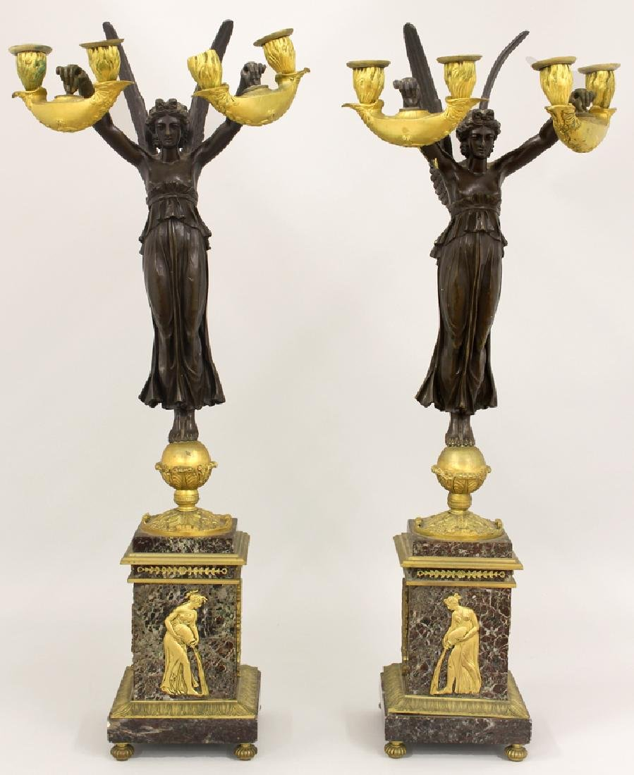 PAIR OF FRENCH MARBLE AND BRONZE FIGURAL CANDELABRA