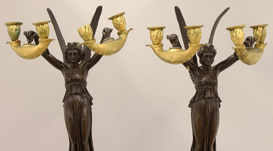 PAIR OF FRENCH MARBLE AND BRONZE FIGURAL CANDELABRA - 6