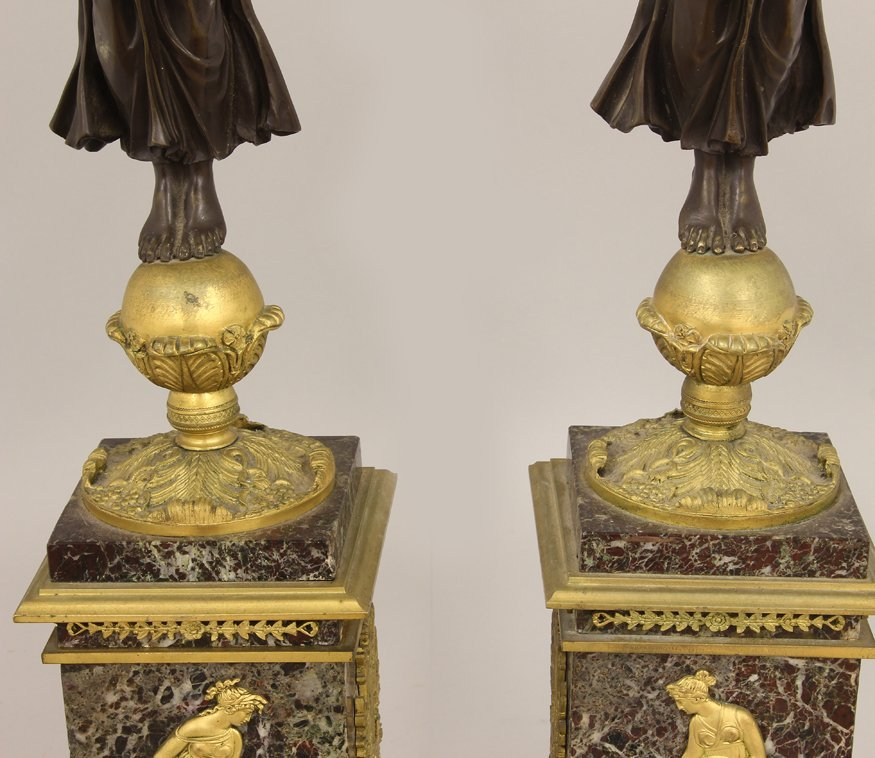 PAIR OF FRENCH MARBLE AND BRONZE FIGURAL CANDELABRA - 7