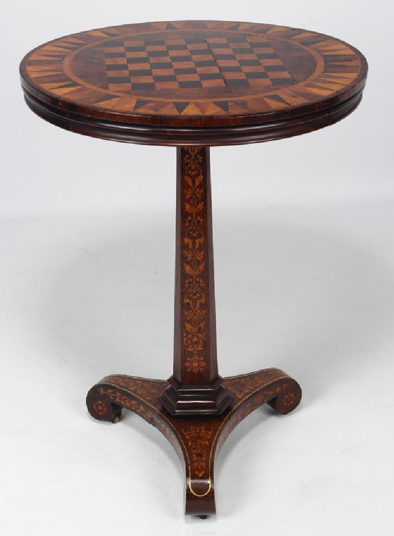 DUTCH CLASSICAL MARQUETRY GAMES TIP-TABLE