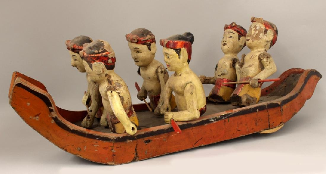ASIAN CARVED AND PAINTED FOLK ART BOAT WITH FIGURES - 2